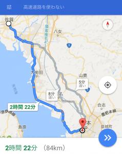 佐賀から熊本へ向かう地図